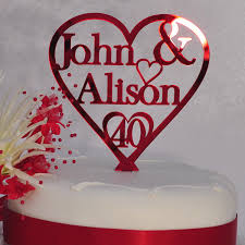 heart cake topper personalised names heart cake topper 40th ruby wedding