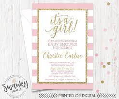 pink and gold baby shower invitation its a girl invitation