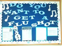 hospital or health department olaf flu shot bulletin board idea