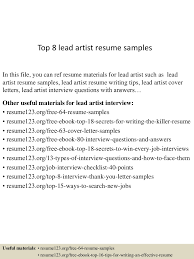 Art Resume Examples by Top8leadartistresumesamples 150601110656 Lva1 App6892 Thumbnail 4 Jpg Cb U003d1433156862