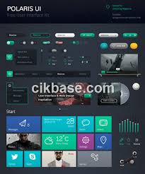cool black green free user interface kit design templates