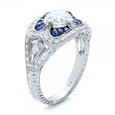 deco engagement rings deco and blue sapphire engagement ring 101985