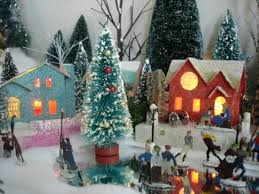 Animated Christmas Village Decorations by Vintage Christmas Village Scenes U2013 Happy Holidays