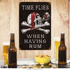 Liquor Signs Time Flies When Having Rum Skull And Crossbones Steel Sign