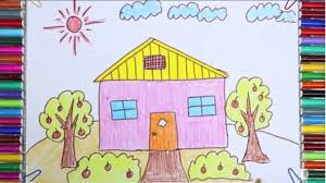 how to draw and color house trees flowers in the garden learn