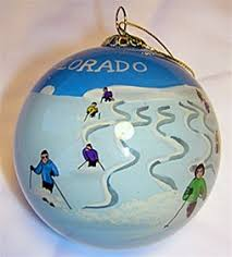 fresh powder colorado glass ski ornament