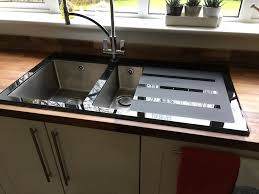 Stylish Modern Wickes Rae Black Glass Kitchen Sink Tap Not - Black glass kitchen sink