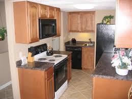 small kitchen apartment ideas kitchen brick backsplash for narrow kitchen design with oak