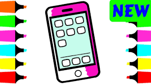 mobile phone coloring page for kids how to draw mobile phone