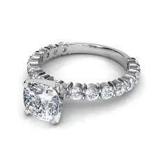 engagement ring cushion cut cushion cut engagement rings with side diamonds