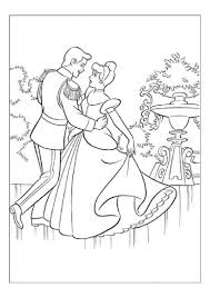 coloring pages princess cinderella and prince dancing