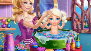 barbie princess baby wash play game