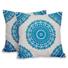 embroidered blue on white cushion covers from india pair cool
