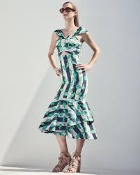 johanna ortiz belice leaf print tiered hem midi dress green blue