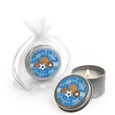 sports baby shower theme all sports personalized baby shower candle tin favors
