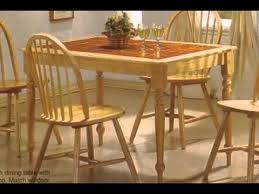 Solid Wood Natural Terracotta Tile Top Table   Chairs YouTube - Tile top kitchen table and chairs