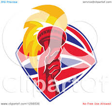 clipart of a red hand holding up a torch in a british flag shield