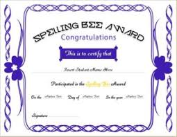 spelling bee award certificates professional certificate templates