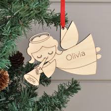 angel wood ornament personalized baby u0027s first christmas graphic