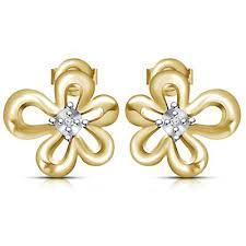 stylish earrings single cut diamond gold plated 925 sterling silver new stylish