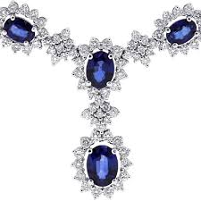 sapphire necklace diamonds images Womens blue sapphire diamond y shape necklace 14k gold 17 62 ct jpg