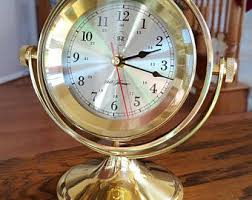 Nautical Desk Clock Brass Desk Clock Etsy