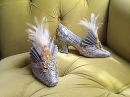 Baroque Halloween Costumes Flapper Costume Heels Shoes 1920s Style Cinderella Silver Gold