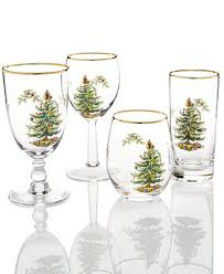 spode glassware set of 4 tree collection bedding