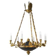 Aged Brass Chandelier Bronze Empire Style Chandelier From France Jean Marc Fray