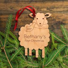 baby u0027s first christmas sheep wooden ornament graphic spaces