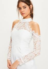 cold shoulder wedding dress white lace top cold shoulder playsuit missguided ireland