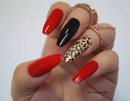 red coffin nails animal print stiletto nails fake nails kylie
