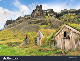 Beautiful Mountain Houses by Beautiful Landscape Traditional Turf Houses Nupsstadur Stock Photo