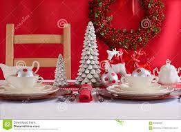 Christmas Table Settings Red And White Christmas Table Setting Stock Photo Image 63426429