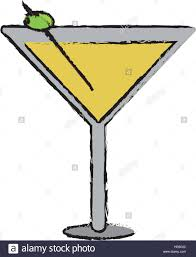 martini silhouette vector drawing glass cocktail martini with olive stock vector art