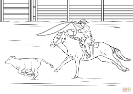 calf roping rodeo coloring page free printable coloring pages
