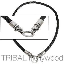 black leather necklace images Black braided thick leather necklace with draco wolf head jpg
