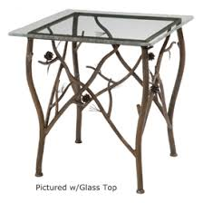 wrought iron rustic pine side table by stone county ironworks