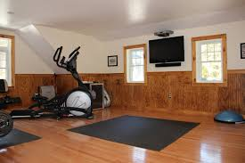 ideas home gym ideas with wall paneling and window treatments
