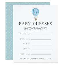 baby shower guessing blue up in the air baby shower guessing card zazzle