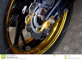 gold motorcycle disc brakes wheel motorcycle stock image image 61349611