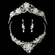 crystal pearl necklace set images Crystal couture pearl wedding tiara necklace set elegant bridal jpg