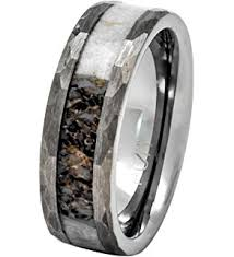 antler wedding ring mens tungsten real whitetail deer antler ring with hammered edge