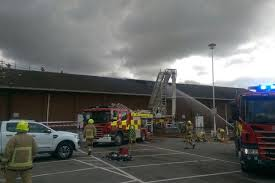 luton asda fire dramatic drone footage of supermarket fire as