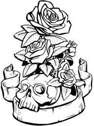 skulls and roses coloring pages flower coloring pages medium