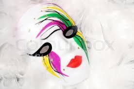 white mardi gras mask painted mardi gras mask on white feathers stock photo colourbox