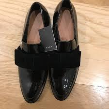 velvet bows 38 zara shoes zara patent leather loafers w velvet bows