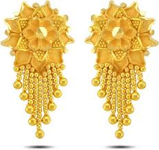 gold earrings with price p n gadgil jewellers floral designer yellow gold 22kt drop earring