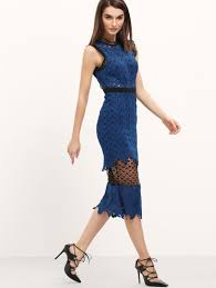 blue sheer lace open back dress shein sheinside