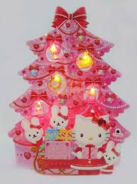 hello pink tree lights melody pop up greeting